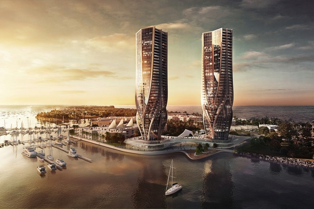 The 44-storey twin towers on the Southport Spit, designed by Zaha Hadid Architects.