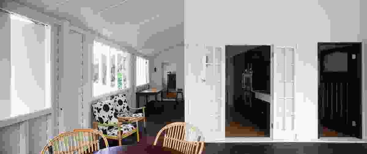 A verandah provides an external promenade connecting rooms.