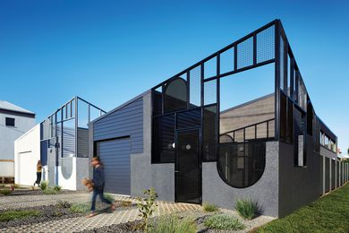 "Each house in this ""dichromatic duo"" has a unique identity inspired by the materials and geometry of Port Fairy's built fabric."