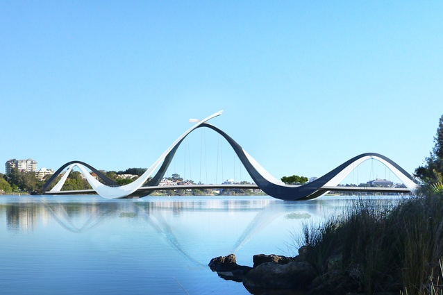 Matagarup Bridge by Denton Corker Marshall with Parry and Rosenthal Architects.