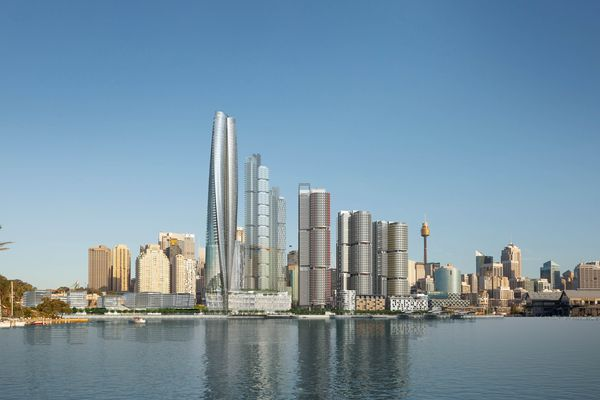 Barangaroo as currently planned, with the Crown casino/hotel by Wilkinson Eyre centre left.