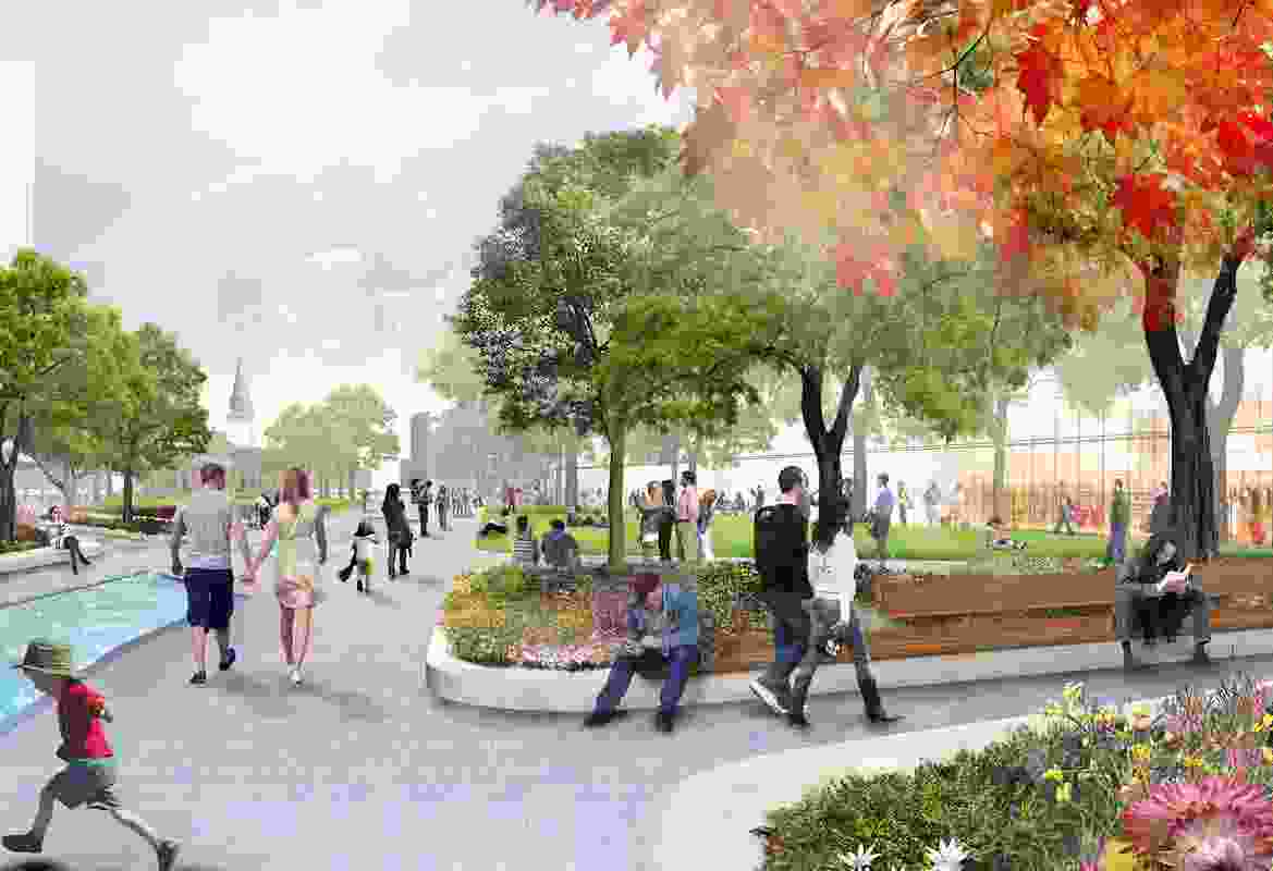 Proposed gardens in the Parramatta Square draft concept design by JMD Design, Taylor Cullity Lethlean, Tonkin Zulaikha Greer, and Gehl Architects.