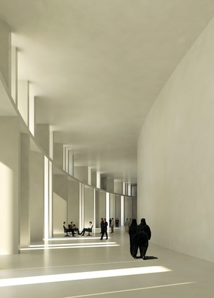 Inside the massive brise-soeil of the Iraqi parliament house concept by Assemblage.