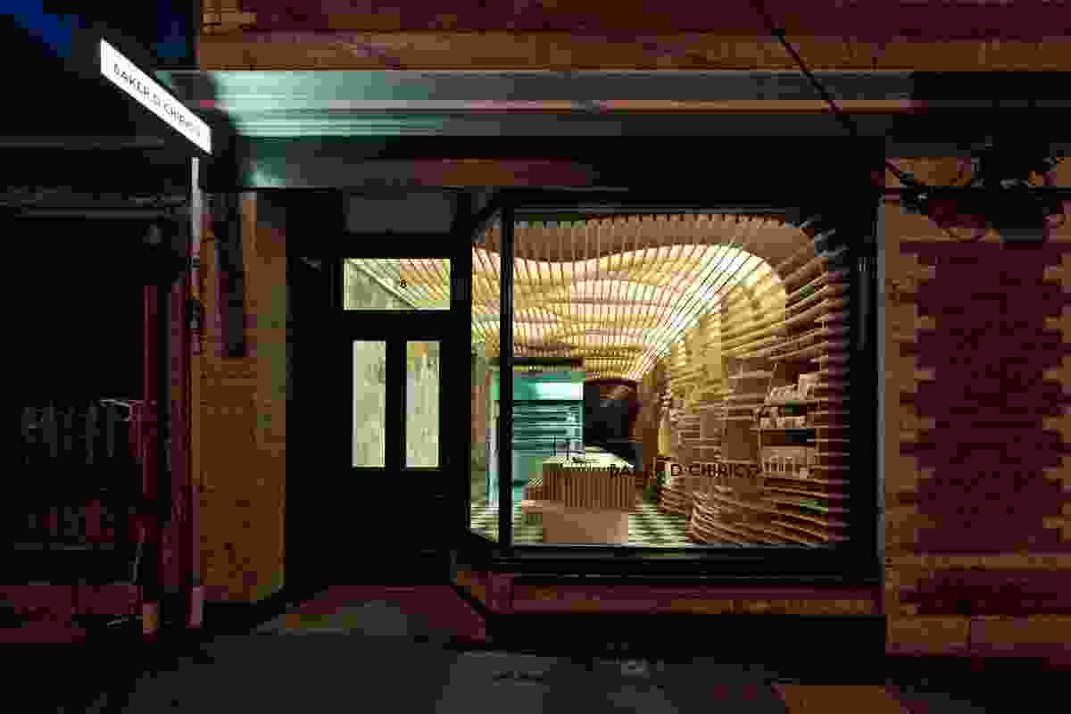 Shop front at night: Baker D. Chirico in Carlton, Victoria.