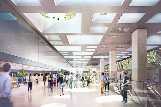 The proposed concourse at Parkville station to be designed by Hassell, Weston Williamson and Rogers Stirk Harbour and Partners.