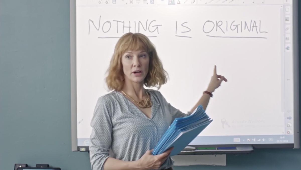 The school teacher character references film maker Jim Jarmusch's manifesto.