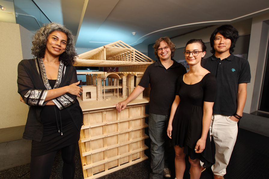Anupama Kundoo (left) with students from the University of Queensland.