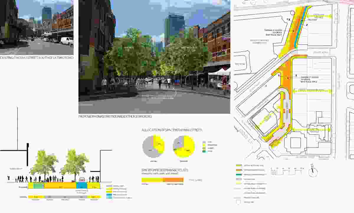Thomas Street: spine.?The closure of large sections of Thomas Street to create a series of new plazas that provide much-needed pedestrian-priority space around Paddys Market and the southern part of Chinatown.