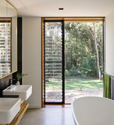 Louvred openings allow natural ventilation to be maintained within a more controlled interior environment.