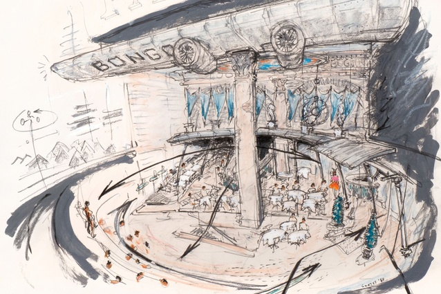 Nigel Coates, sketch for Caffè Bongo in Tokyo (1986) – a period of frenzied public interest in the glamour of architecture.