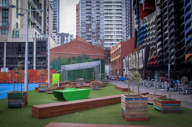 A'Beckett Urban Square by Peter Elliott Architecture + Urban Design, with artwork by Ash Keating.