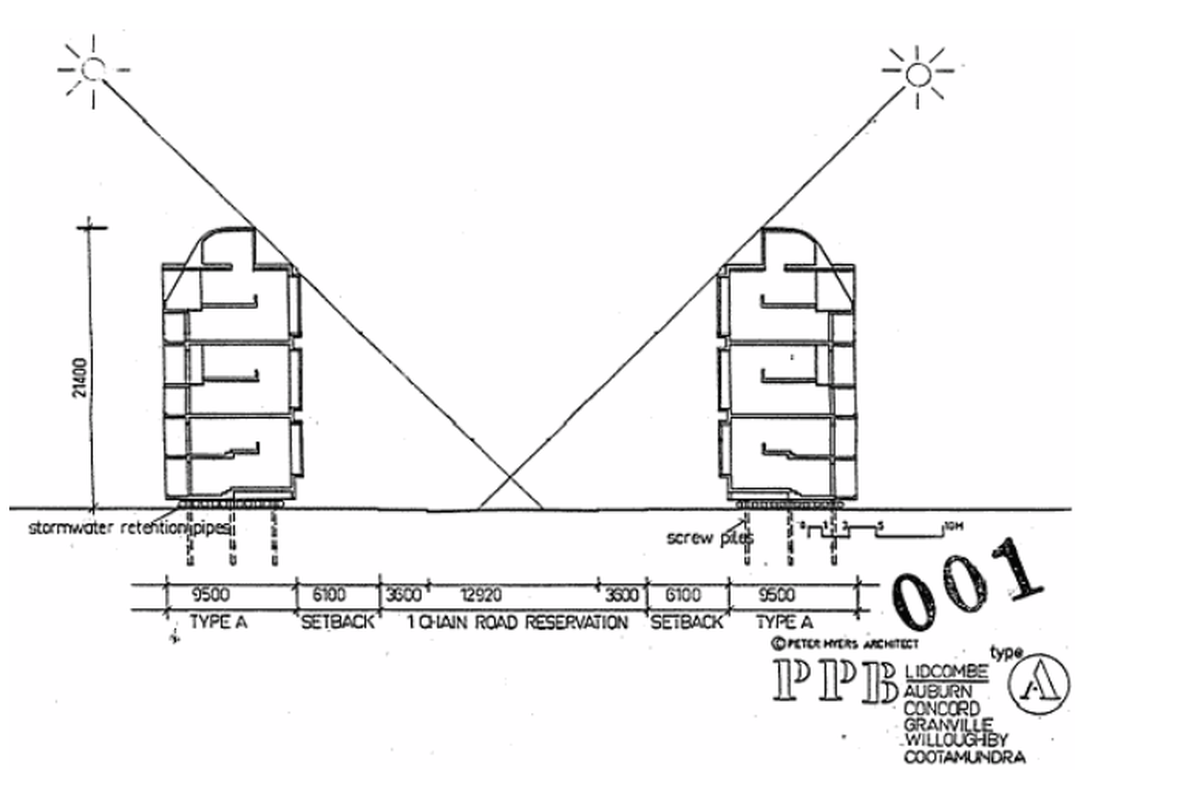 A cross sections of the author's proposed 'Third City' of medium-rise housing; organised to maximise sunlight and visual contact with pedestrians on footpaths.