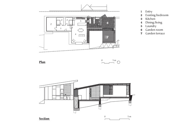 Plan (top) and section (bottom) of Longview Avenue Garden Room by Taylor and Hinds Architects.