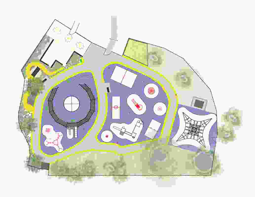 The playground includes a sensory maze and a snakes and ladders activity path, alongside modified playground equipment.