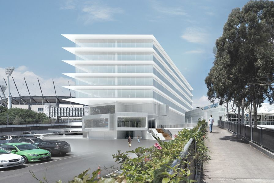 Artist's impression of the new Administration and Media Building at Melbourne Park by Hassell.