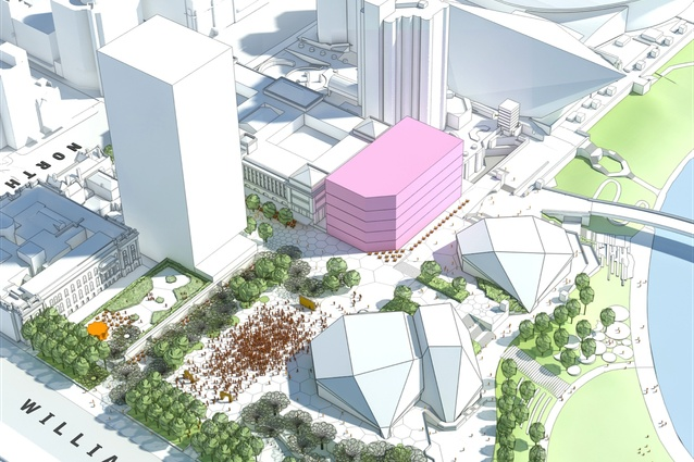 The redevelopment of the government owned carpark site (pink) currently slated for the SkyCity casino expansion, will be key to the urban renewal of the precinct.