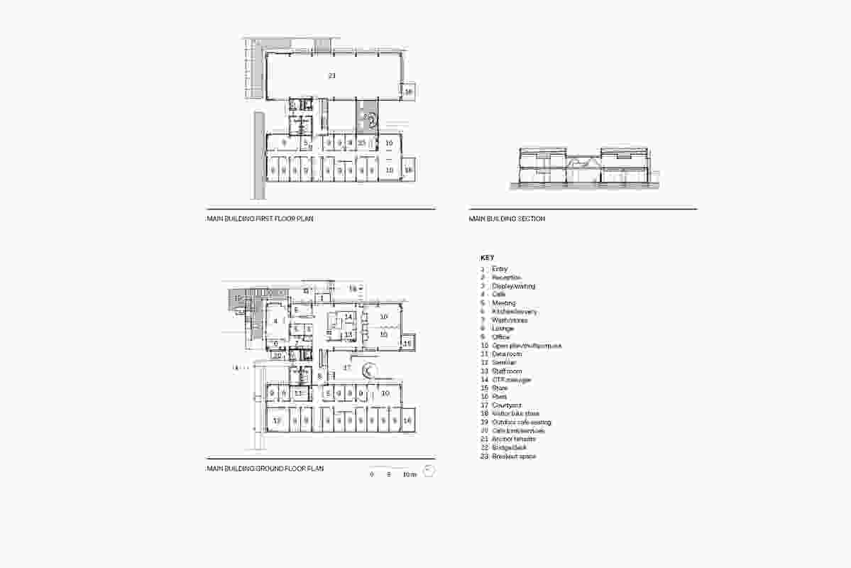 Main Building floor plans and section.