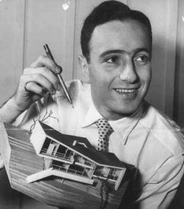 Architect Harry Seidler with model of Melller House, Castlecrag, 1950.