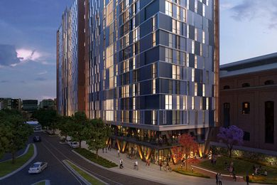 A view of the proposed student accommodation building in Darling Square.