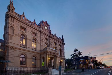 The Glebe Town Hall's restored Victorian Free Classical facade.