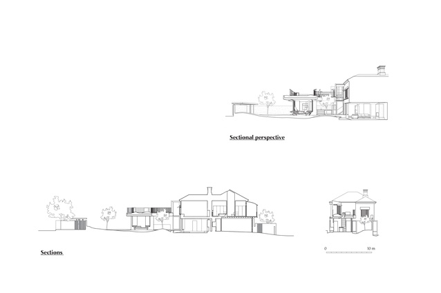 Sections and sectional perspective of Gibbon Street by Cavill Architects.