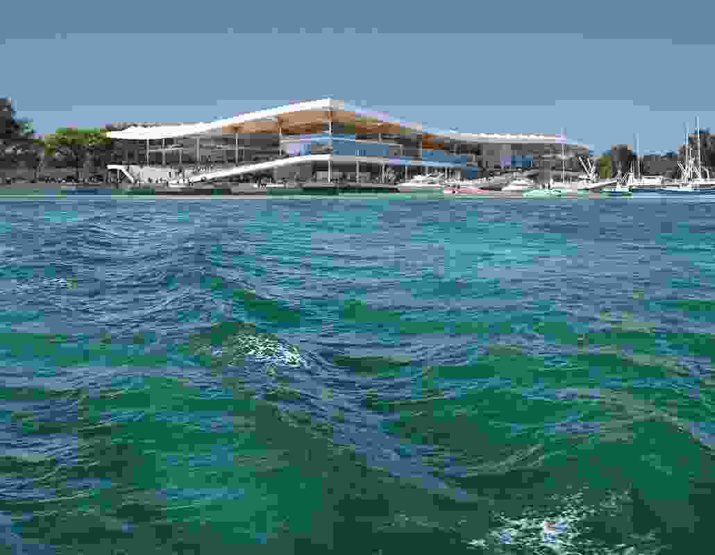 View of the proposed new Sydney Fish Market by 3XN, BVN and Aspect Studios from the bay.
