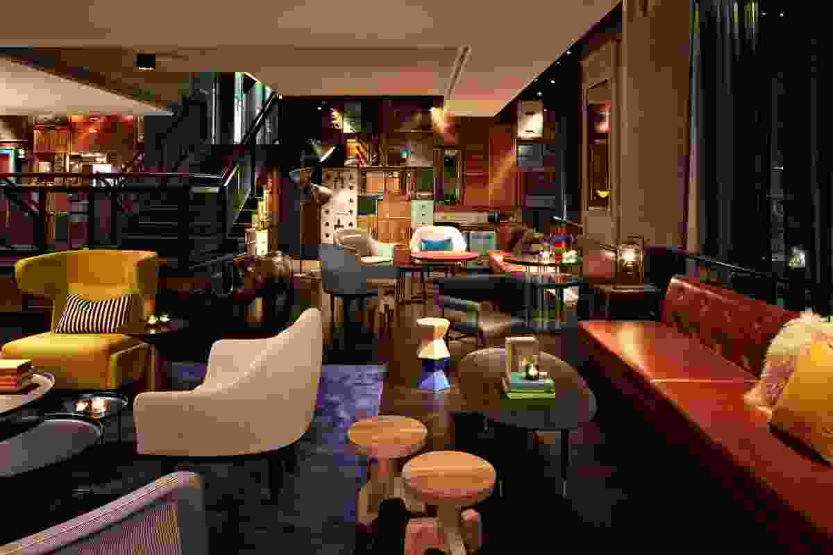 QT hotel lobby: a pastiche of artefacts and commissioned contemporary pieces.