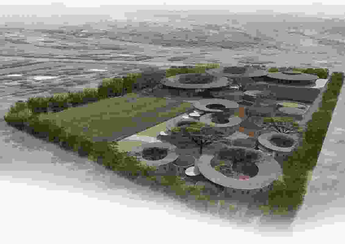An aerial view of the Kenyan ecovillage designed by O2 Design Atelier.