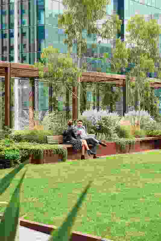 The park offers a secluded meeting place for building tenants, the city workforce and the public.