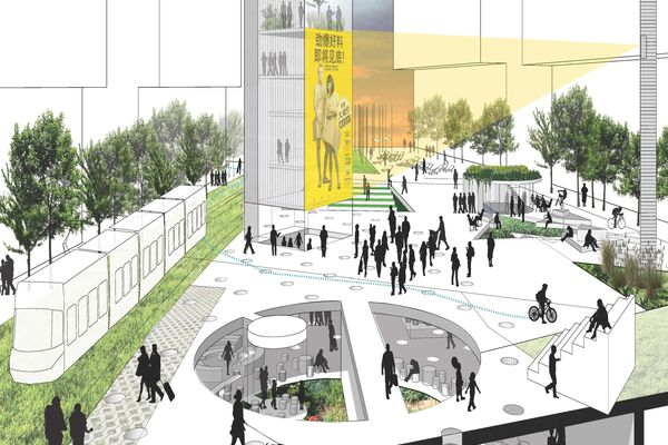 Winning entry in Sydney's Green Square Library & Plaza competition by Stewart Hollenstein + Colin Stewart Architects.