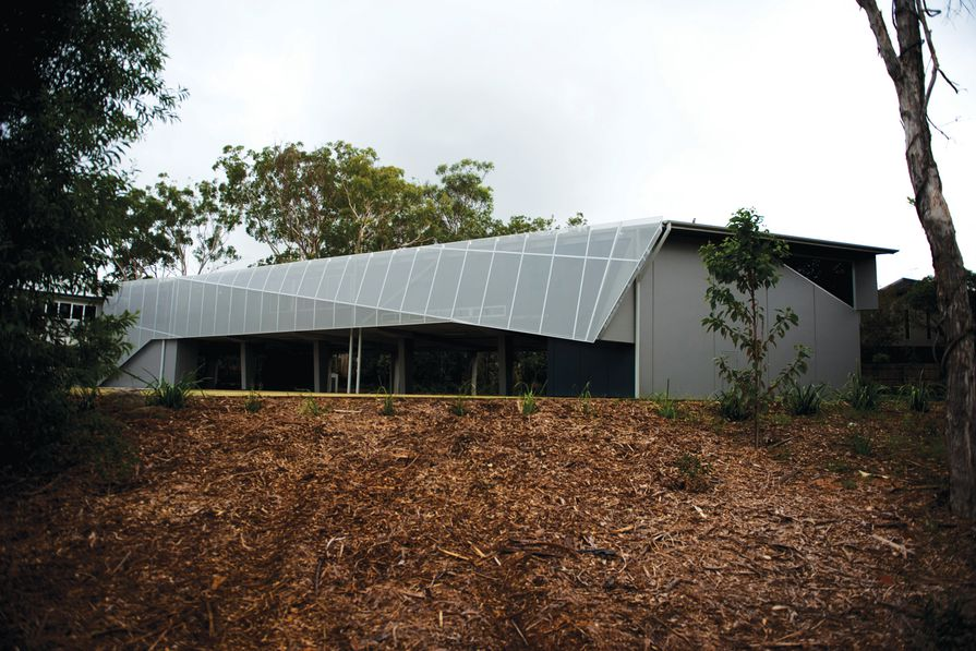 The AGN Library in Tingalpa, Brisbane, with a folded sunshade along the western edge.
