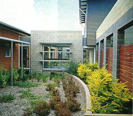Courtyard space between the old and new blocks. Photographs Richard Stringer.