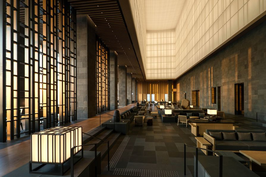 A giant lantern made of washi (Japanese paper) fills the top half of the hotel's lobby on the thirty-third floor.