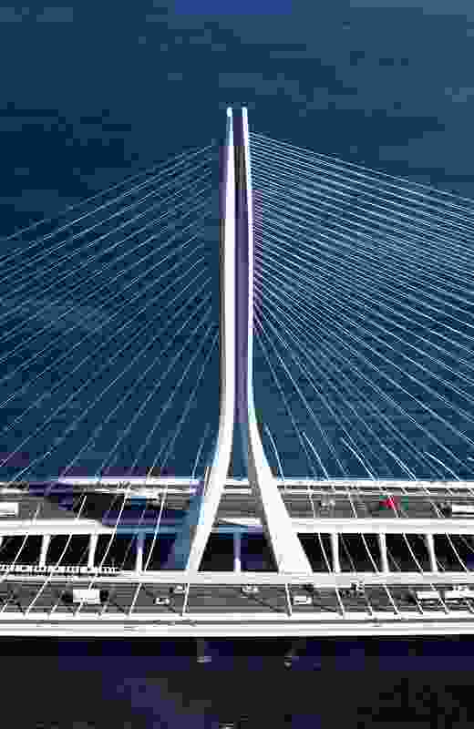One of the bridge's defining features is its asymmetry, with a single concrete structural mast sitting in the centre of the cable-stayed bridge.