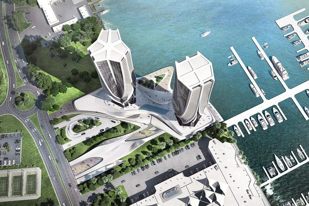 An aerial view of the twin towers on the Southport Spit, designed by Zaha Hadid Architects.