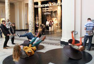 Serious fun: Heatherwick Studio's Spun Chair in the Victoria and Albert Museum foyer.