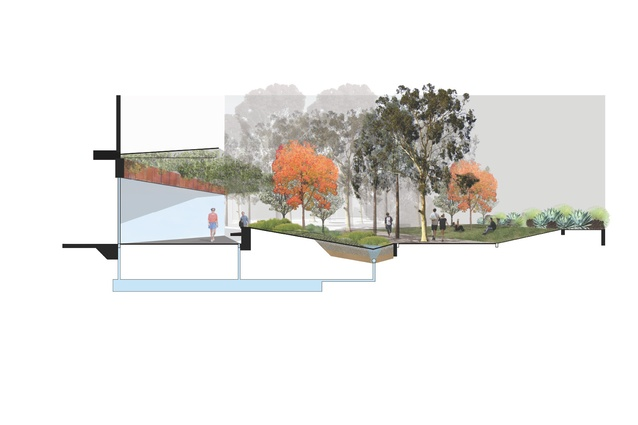 A section reveals the typical function of one of numerous raingardens integrated throughout the site.