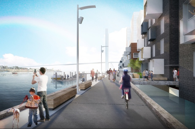 A proposed promenade of the Collins Wharf development.