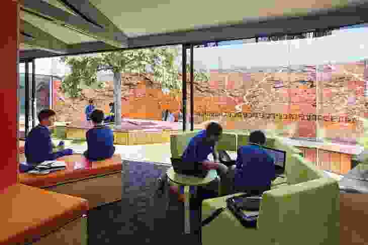 The courtyard features a vibrant mural painted by Branch Studio Architects director Brad Wray and his partner Ellie Farrell.