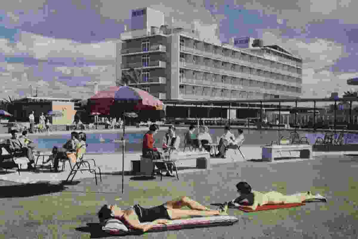 Sunbathers at Lennons Hotel in Broadbeach, 1958. Architect: Karl Langer.