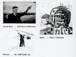 Catchy captions from the contents page of Vincent Smith's first issue. Architecture in Australia, December 1975.