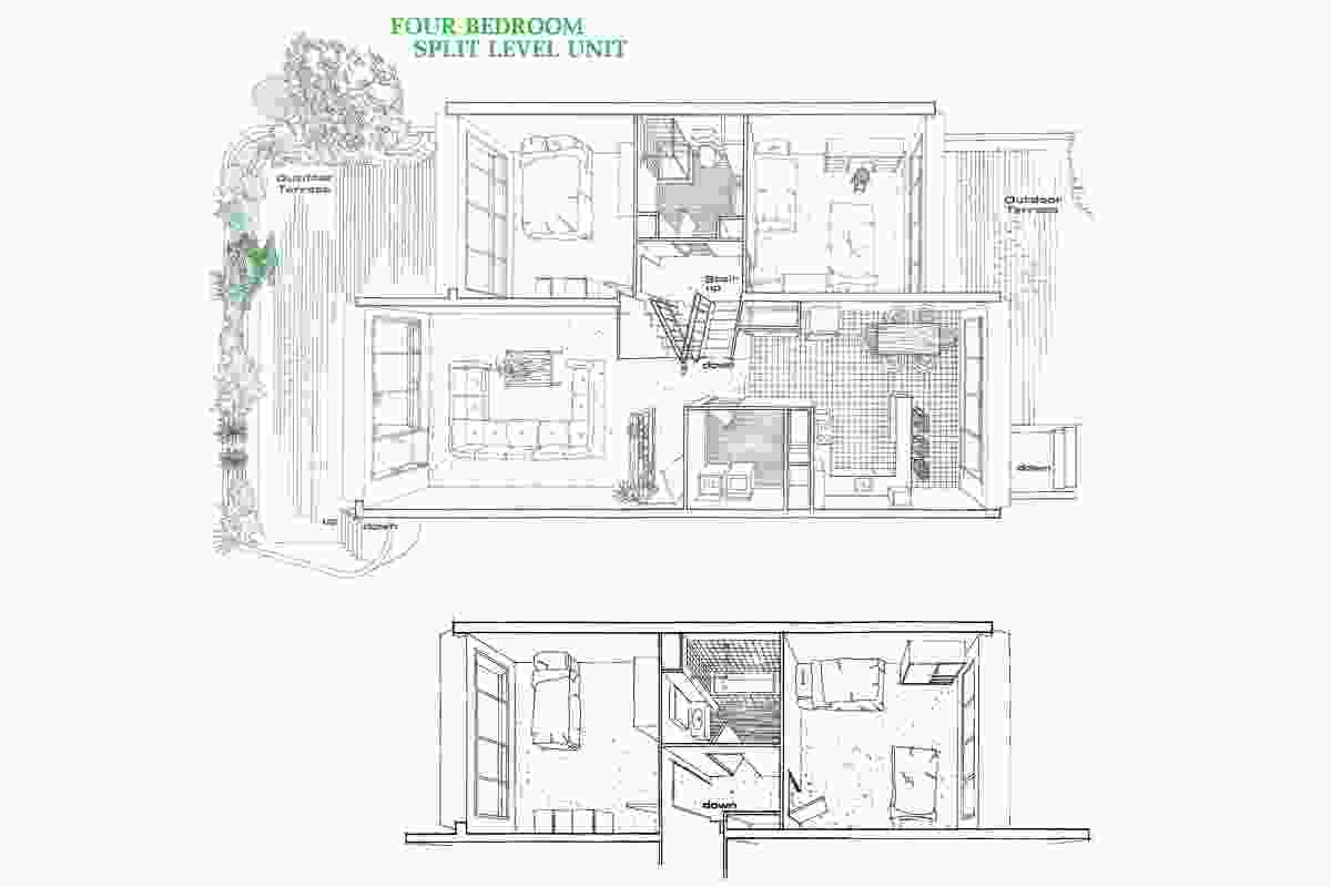 A plan for a four-bedroom, split-level unit in Sirius. These units were designed for families and all have outdoor terraces at front and rear.