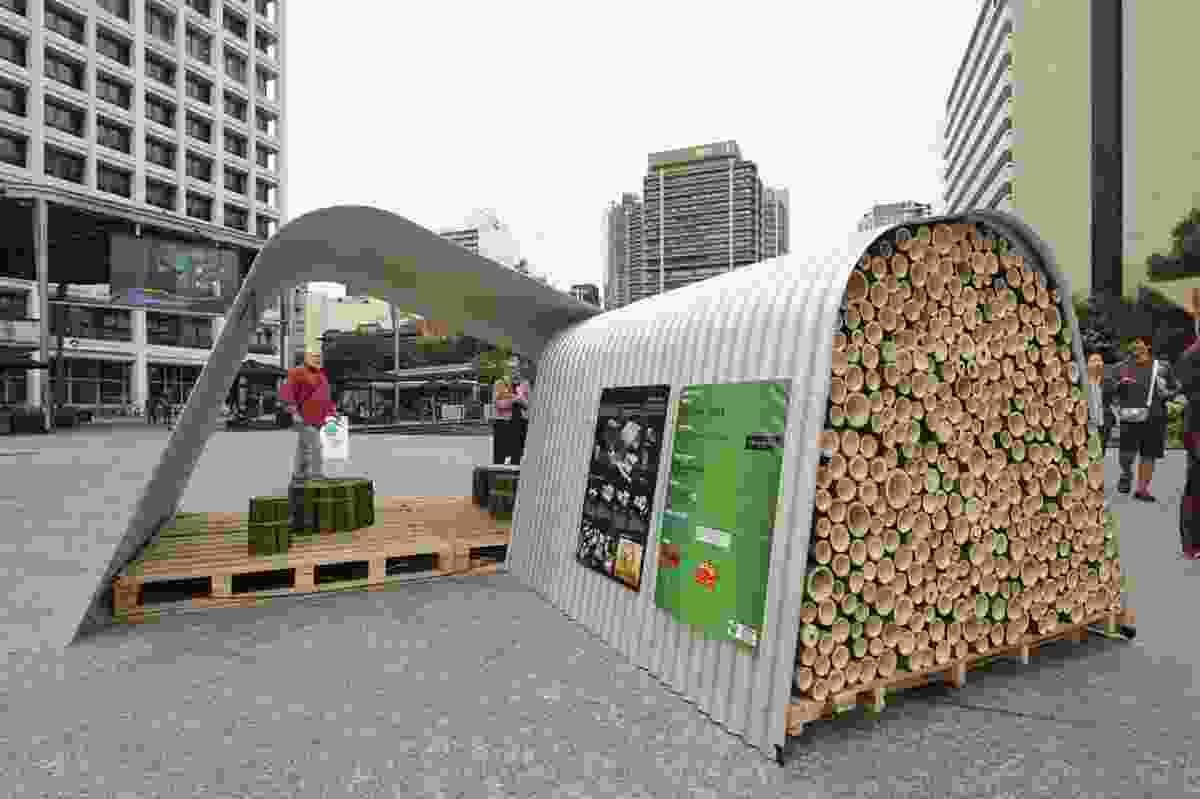 Emergency shelter by Jackson Teece, exhibited in Brisbane 2012.