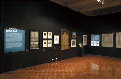 The exhibition included architectural drawings of various proposals for the site, as well as working drawings on linen.