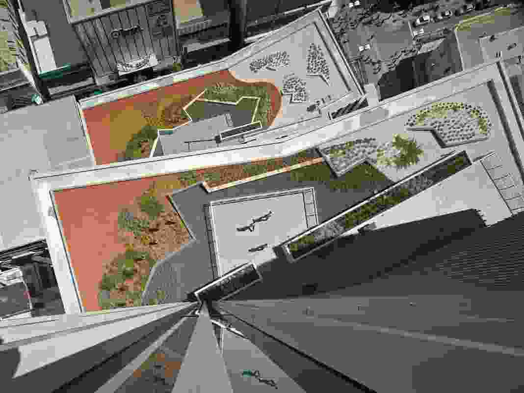 Roof gardens have been created at each step, providing visual outlook and outdoor amenity for the office workers.