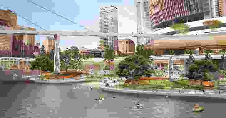 The landing from the river of proposed Queens Wharf Brisbane casino resort redevelopment designed by Cottee Parker Architects.