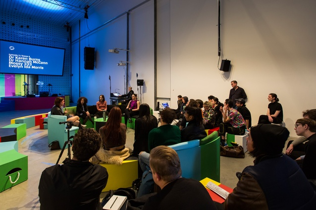 A live broadcast of an episode of <i>Workaround</i> at RMIT Design Hub.