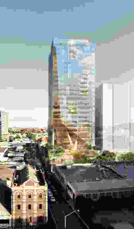 An elevated public space will be sculpted out of the intersection of the tower and podium of the proposed building at 301 Wickham Street, Brisbane by BVN.