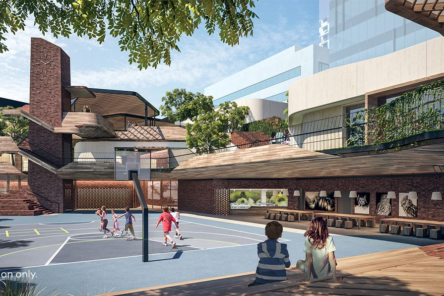 The new three-storey Docklands Primary School by Cox Architecture with McGregor Coxall. Education infrastructure is at the heart of the government's stimulus package.