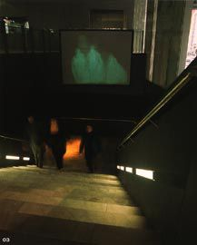 Stair to the Screen Gallery, along the Flinders Street edge of the ACMI. Image: Trevor Mein